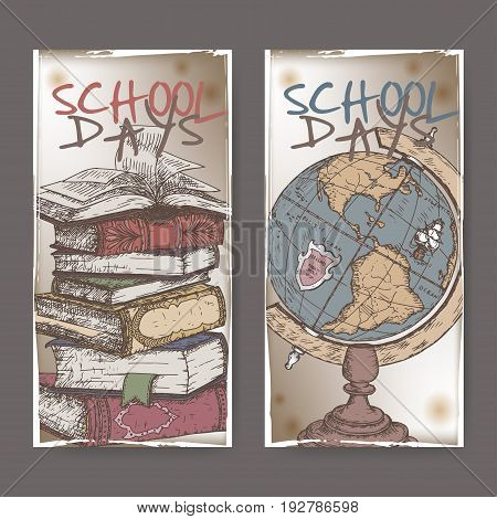 Two vertical banners with hand drawn school related color sketches featuring books and globe. School memories collection. Great for school, education, book shop, retro design.