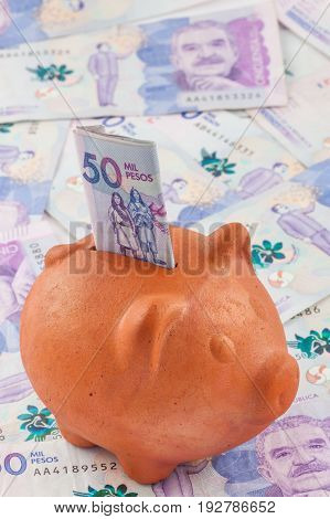 Saving money - Fifty Thousand Colombian Pesos Bills Issued on 2016