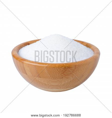 wooden bowl with sugar granulated isolated on white background