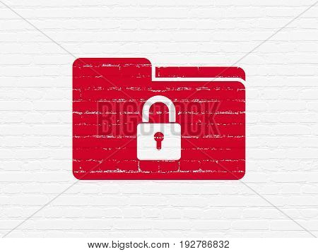 Business concept: Painted red Folder With Lock icon on White Brick wall background