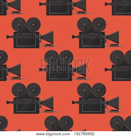 Seamless pattern with an old camera. Creative template for cinema poster, banner in retro cartoon style. Vector