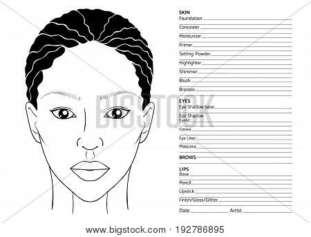 African female face chart blank for professional make-up artists. Beautiful exotic afro-american or caribbean woman. EPS 10 vector illustration isolated on white.