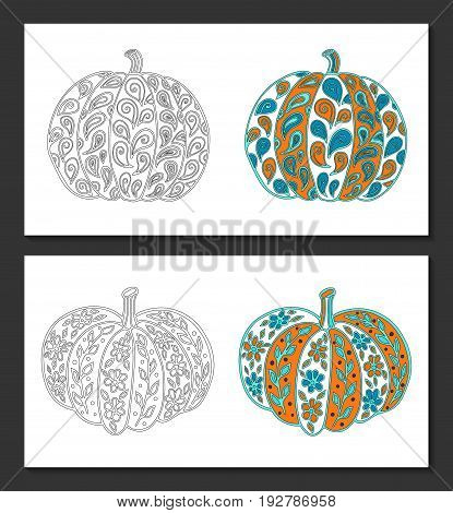 Pumpkins with vintage style paisley floral ornaments. Black-white and colored samples. Coloring pages for adult, posters, t-shirt pillow case prints. EPS 10 vector. Isolated.