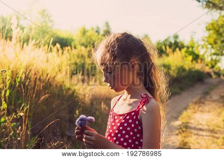 Cute little girl with flowers on the meadow in summer day