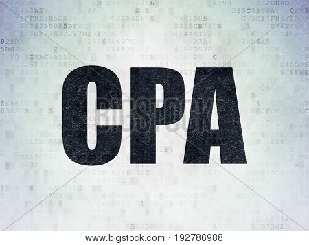 Finance concept: Painted black word CPA on Digital Data Paper background