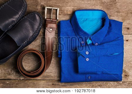 Casual Mens Fashion And Outfits On The Wooden Table, Flat Lay, Top View