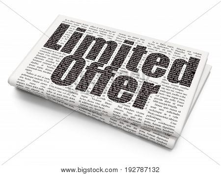 Finance concept: Pixelated black text Limited Offer on Newspaper background, 3D rendering
