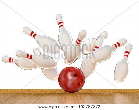 bowling action scene 3d rendering image