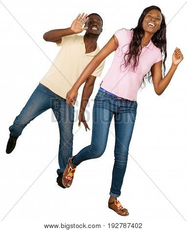 Young african couple dancing young adults white background