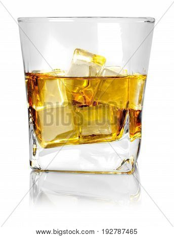Glass isolated ice whiskey bar color yellow