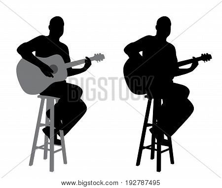 Guitar player sitting on a bar stool. Isolated white background. EPS file available.