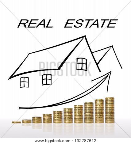 The real estate market and stacks of coins on white background