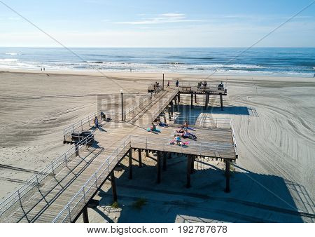 Wildwood, New Jersey, Usa - June 25, 2017: Crest Beach And Wooden Dock From Above With The Ocean Vie