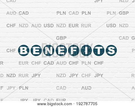 Finance concept: Painted blue text Benefits on White Brick wall background with Currency