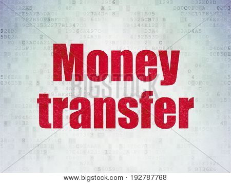 Business concept: Painted red word Money Transfer on Digital Data Paper background