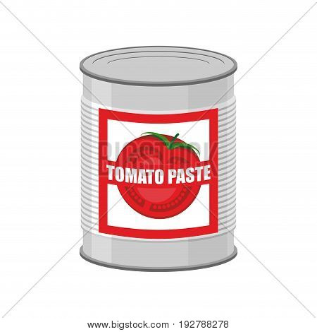 Tomato Paste Tin Can. Canned Food With Tomatoes