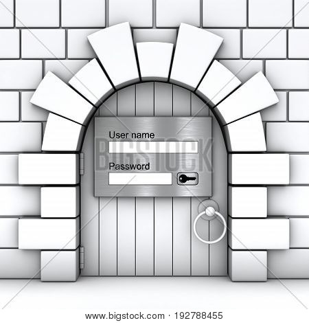 3D image of the gate in the stone wall