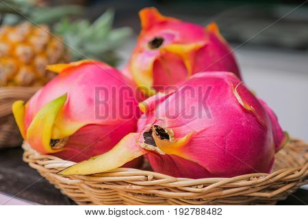 pitaya or pitahaya or dragon fruit, tropical fruit