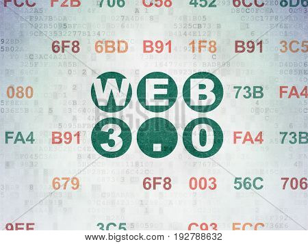 Web design concept: Painted green text Web 3.0 on Digital Data Paper background with Hexadecimal Code