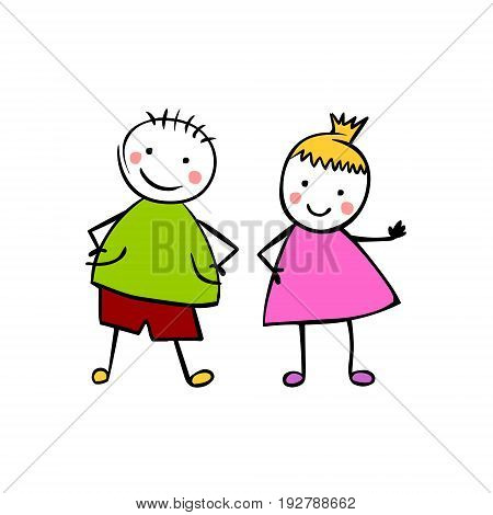 Boy And Girl. Children's Style Vector Couple