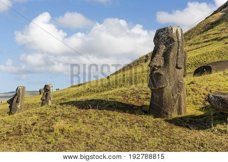 Monolithic human figures carved by the Rapa Nui people on Easter Island