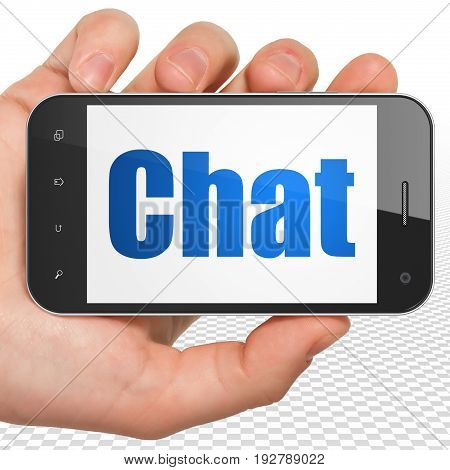 Web development concept: Hand Holding Smartphone with blue text Chat on display, 3D rendering