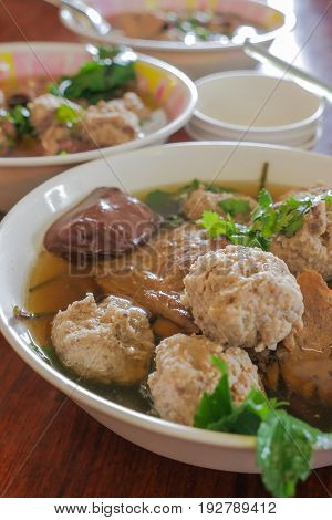 Thai Style Clear Soup with Congealed pork blood