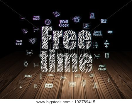 Timeline concept: Glowing text Free Time,  Hand Drawing Time Icons in grunge dark room with Wooden Floor, black background