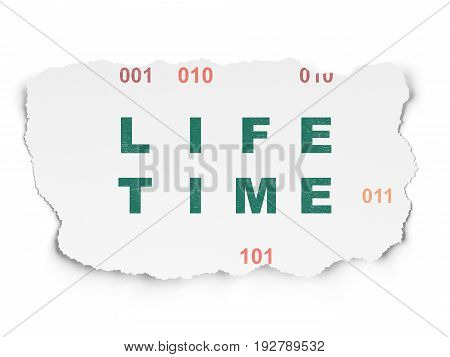 Timeline concept: Painted green text Life Time on Torn Paper background with  Binary Code