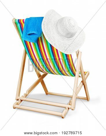 Isolated chair towel hat deck deckchair no one