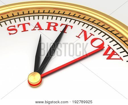 Clock with words start now on face . 3d rendered illustration