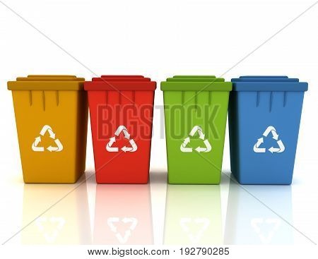 recycle bins with recycle signs . 3d rendered illustration