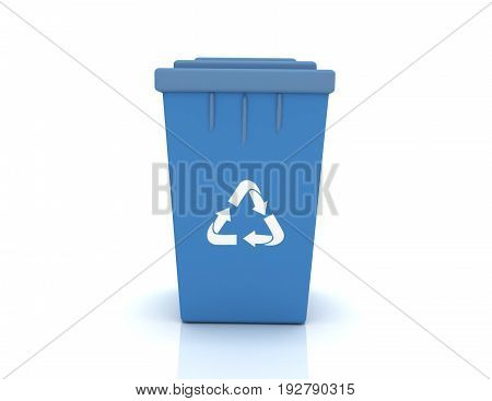 Recycle bin with recycle sign . 3d rendered illustration