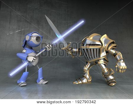 Cartoon knight dwarf and the robot fight with swords