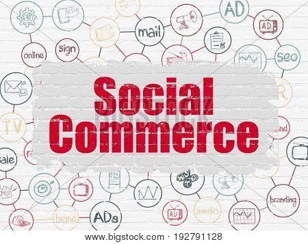 Marketing concept: Painted red text Social Commerce on White Brick wall background with Scheme Of Hand Drawn Marketing Icons