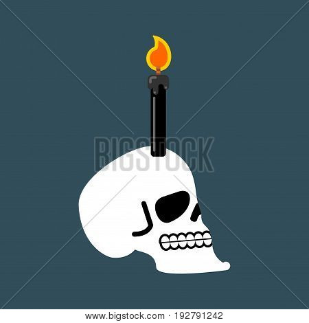 Skull For Black Magic. Head Of Skeleton And Black Candle