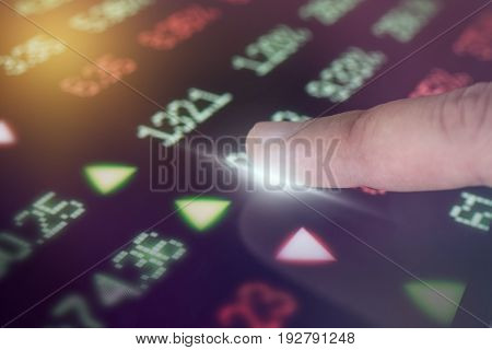 Business finger touch tablet with stock market