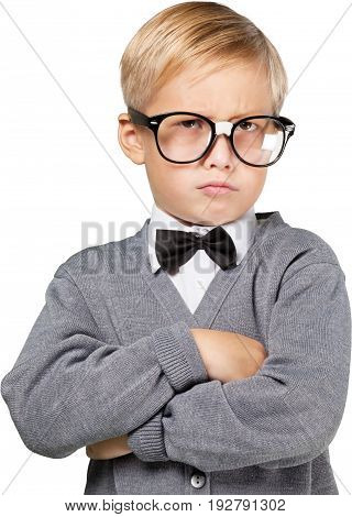 Young boy thinking glasses fun white isolated