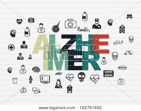 Health concept: Painted multicolor text Alzheimer on White Brick wall background with  Hand Drawn Medicine Icons