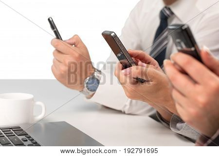 Business people mobile phone using computer background
