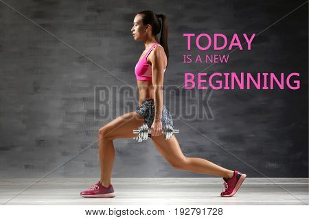 Fitness quotes. Text TODAY IS A NEW BEGINNING and young woman training with dumbbells on gray wall background