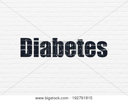 Healthcare concept: Painted black text Diabetes on White Brick wall background