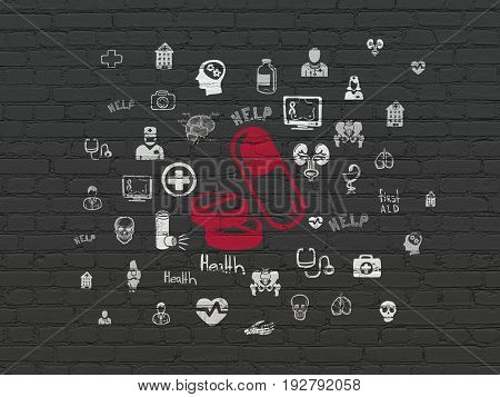 Health concept: Painted red Pills icon on Black Brick wall background with  Hand Drawn Medicine Icons