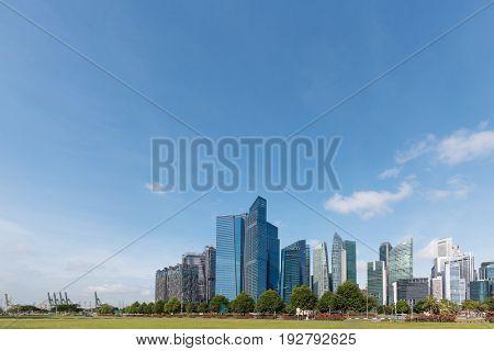 modern buildings in blue sky in midtown of shanghai