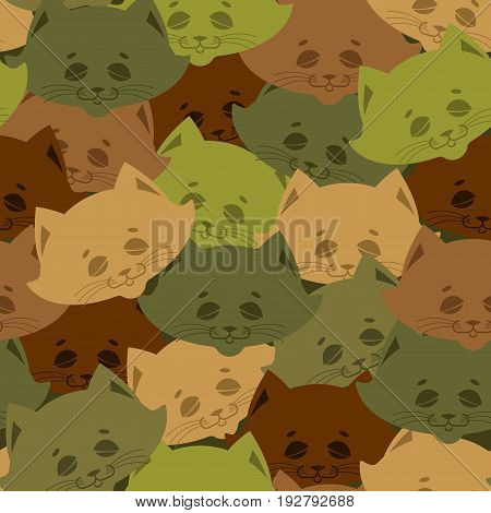Cat Army Pattern. Home Pet Military Background. Texture For Soldiers Cloth. Hunter Protective Orname