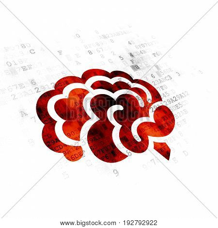 Medicine concept: Pixelated red Brain icon on Digital background