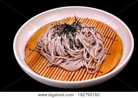 Cold soba ready to serve in Japanese style.