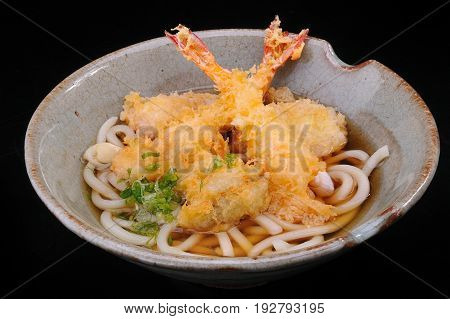 Soba Tempura ready to serve in Japanese style.