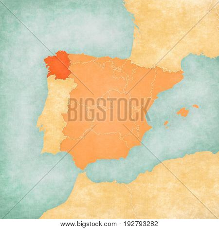 Map Of Iberian Peninsula - Galicia