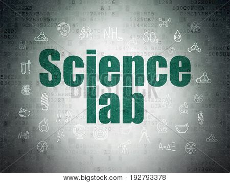 Science concept: Painted green text Science Lab on Digital Data Paper background with  Hand Drawn Science Icons